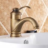 Decoraport Robinet de Lavabo&Vasque - Simple Trou Double Levier - Laiton Fini Bronze Antique (A004)