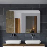 28 x 36 po Miroir Horizontal Argenté LED Salle de Bains avec Interrupteur Tactile (DK-OD-NO1)