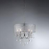 Lustre à 5 Lumières avec Abat-jour - Cristal de Style Moderne (DK-SS001)