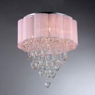 Plafonnier à 6 Lumières avec Abat-jour en Voile Rose - Métal & Cristal Style Moderne (DK-SS007)