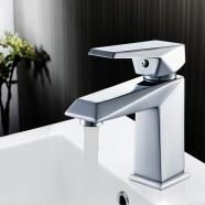 Robinet de Lavabo&Vasque Rectangle - Simple Trou Simple Levier - Laiton Fini Chrome (81H36-CHR-001)