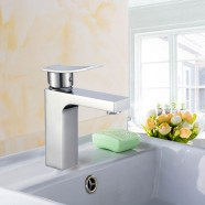 Robinet de Lavabo&Vasque Rectangle - Simple Trou Simple Levier - Laiton Fini Chrome (81H36-CHR-006)