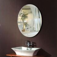 24 x 32 po Miroir Argenté Ovale Sans Cadre de Salle de Bain - Accrochage Horizontal et Vertical (DK-OD-B094)