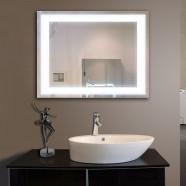 28 x 36 po Miroir Horizontal Argenté LED Salle de Bains avec Interrupteur Tactile (DK-OD-CK010-I)