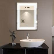 24 x 32 po Miroir Vertical Argenté LED Salle de Bains avec Interrupteur Tactile (DK-OD-CK150)