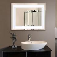 28 x 36 po Miroir Horizontal Argenté LED Salle de Bains avec Interrupteur Tactile (DK-OD-CK150-L)