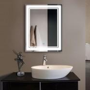 28 x 36 po Miroir Vertical Argenté LED Salle de Bains avec Interrupteur Tactile (DK-OD-CK160-I)