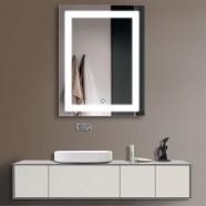 28 x 36 po Miroir Vertical Argenté LED Salle de Bains avec Interrupteur Tactile (DK-OD-CK168-I)