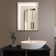 24 x 32 po Miroir Vertical Argenté à Ampoules LED de Salle de Bains avec l'Interrupteur Tactile (YJ-2068H)