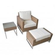 3-Pièce Salon de Jardin en Rotin avec Coussin: Table Basse, Fauteil, Repose-pieds (LLS-5001)