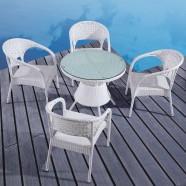 Rotin en PE Salle à Manger de Jardin de 5 Pièces: Table à Manger, 4 Chaises(LLS-6087+1087)