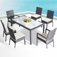 Salle à Manger de Jardin de 7 Pièces: Table à manger, 2 Chaises, 4 Chaises sans Bras(JMS-1105)