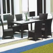 Rotin en PE Salle à Manger de Jardin de 7 Pièces: Table à Manger, 6 Chaises (LLS-6055+1055)