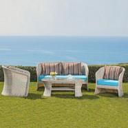 4-Pièce Salon de Jardin en Rotin avec Coussin: Causeuse, 2 Fauteuils, Table Basse (LLS-FSAL01)