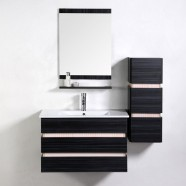 31 po Meuble Salle de Bain Noir Suspendu au Mur avec Lavabo Simple Céramique et Miroir (VS-8861A)