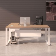 70.9 In Oak and White L Shape Moderne Executive Desk (PA03)