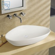 Lavabo-Vasque de Dessus de Comptoir en Céramique Blanche (DK-LSE-8093A)