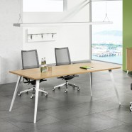 78.7 Po Table de Conférence Moderne Rectangulaire en Couleur de Chêne et Blanc (HM01-2000)