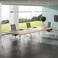 126 Po Table de Conférence Moderne Rectangulaire en Couleur de Chêne et Blanc (HM03-3200)
