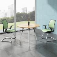 D39.4 Po Table de Conférence Moderne Rond en Couleur de Chêne et Blanc (HM04)