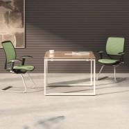 39.4 Po Table de Conférence Moderne Carré en Couleur de Chêne et Blanc (PH01)
