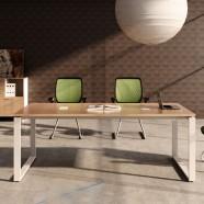 78.7 Po Table de Conférence Moderne Rectangulaire en Couleur de Chêne et Blanc (PH02)