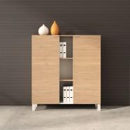 """52""""H x 47.2""""W x 15.7""""D Meuble Bibliothèque en Couleur de Chêne et Blanc avec 2 portes (CG12)"""