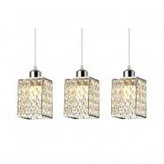 Suspension Triple à 3 Lumières en Métal et Cristal - Style Moderne (PL9136-3)