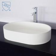 Lavabo-Vasque Ovale de Dessus de Comptoir en Pierre de Synthèse Blanche (DK-HB9043)