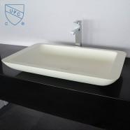 Lavabo-Vasque Rectangle de Dessus de Comptoir en Pierre de Synthèse Blanche (DK-HB9013)