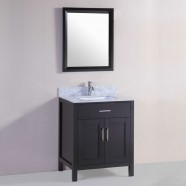 30 po Meuble Salle de Bain Sur Pieds à Lavabo Simple avec Miroir (DK-T9150-30E)