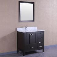 36 po Meuble Salle de Bain Sur Pieds à Lavabo Simple avec Miroirs (DK-T9199-36E)