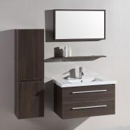 32 po Meuble Salle de Bain Suspendu au Mur à Lavabo Simple avec Miroir (DK-T5165B)