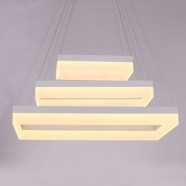 "Suspension LED Moderne Rectangle en Acrylique Fini Chrome/Largeur 32"" (BH-L5212)"