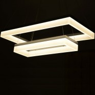 "Suspension LED Moderne Rectangle en Acrylique Fini Chrome/Largeur 28"" (BH-L5213)"