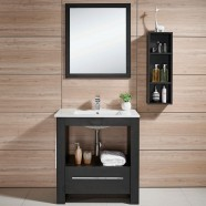 24 po Meuble Salle de Bain Sur Pieds à Lavabo Simple avec Miroir et Armoire (DK-610600)