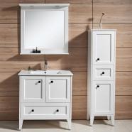 31 po Meuble Salle de Bain Sur Pieds à Lavabo Simple avec Miroirs et Armoire (DK-672800W)
