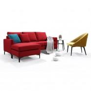 Canapé 3 Places en Tissu à Méridienne/Pouf avec Coussins - Rouge (BO-0695)