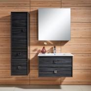 31 po Meuble Salle de Bain Suspendu au Mur à Lavabo Simple avec Miroir et Armoire (DK-656800)
