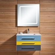 31 po Meuble Salle de Bain Suspendu au Mur à Lavabo Simple avec Miroir LED (DK-668800)
