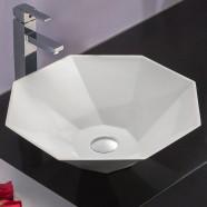 Lavabo-Vasque de Dessus de Comptoir en Pierre de Synthèse Blanche (DK-HB9037)