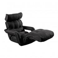 Sofa Pliable à l'étage en Tissu Lin et en Noir Gris (K16RS01-BG)