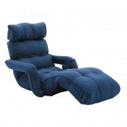 Sofa Pliable à l'étage en Tissu Lin et en Bleu Foncé (K16RS01-BL)