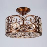 """Semi-plafonnier en Fer & Cristal à 3 Ampoules Bronze - Largeur 13"""" (96001203-3)"""
