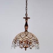 """Pendentif Lumière en Fer & Cristal à 6 Ampoules Bronze - Largeur 15"""" (98001349-6)"""