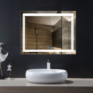 36 x 28 po miroir de salle de bain LED horizontal avec bouton tactile (DK-OD-CK150-L)