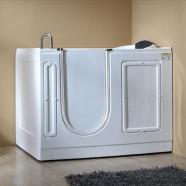 51 x 30 po Balnéo Baignoire pour mobilité réduite avec Porte - Acrylique Blanche avec Drain à Gauche (DK-MQ380-L)