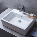 Lavabo-Vasque Rectangle de Dessus de Comptoir en Céramique Blanche (CL-1118)