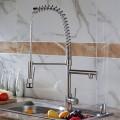 Robinet de Cuisine en Laiton en Nickel Brossé - Tête de Douche Rétractable avec Ressort Spiral (82H03-BN)
