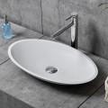 Lavabo-Vasque Ovale de Dessus de Comptoir en Pierre de Synthèse Blanche (DK-HB9006)
